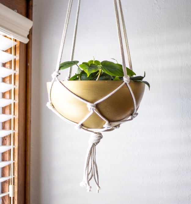 IKEA Hacks For The Bedroom - DIY Brass Hanging Planter - Best IKEA Furniture Hack Ideas for Bed, Storage, Nightstand, Closet System and Storage, Dresser, Vanity, Wall Art and Kids Rooms - Easy and Cheap DIY Projects for Affordable Room and Home Decor #ikeahacks #diydecor #bedroomdecor