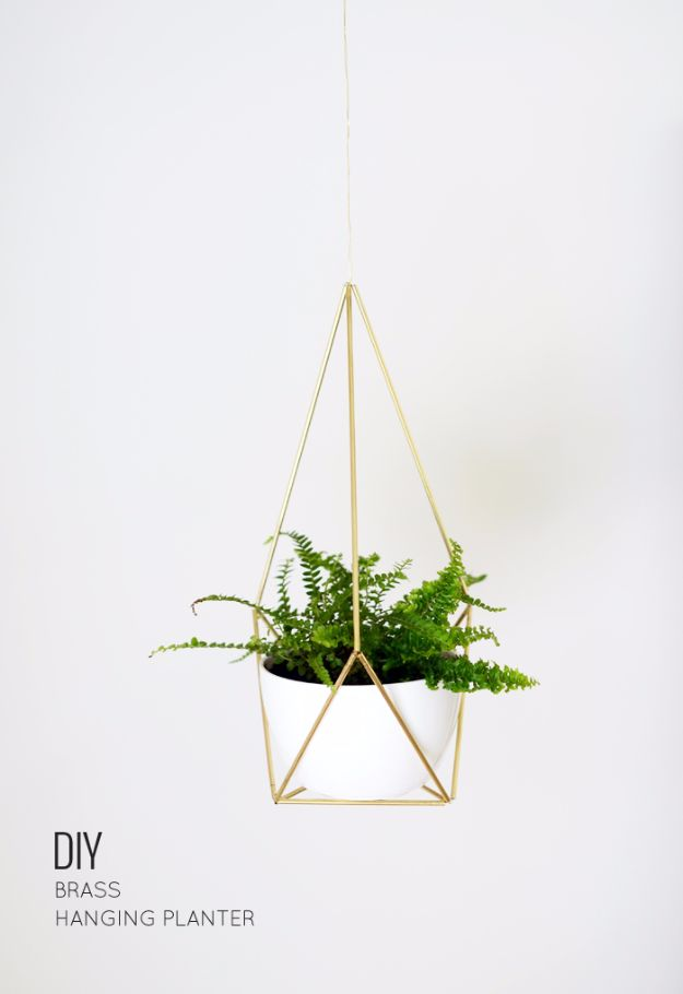 Best DIY Home Decor Crafts - DIY Brass Himmeli Hanging Planter - Easy Craft Ideas To Make From Dollar Store Items - Cheap Wall Art, Easy Do It Yourself Gifts, Modern Wall Art On A Budget, Tabletop and Centerpiece Tutorials - Cool But Affordable Room and Home Decor With Step by Step Tutorials #diyhomedecor