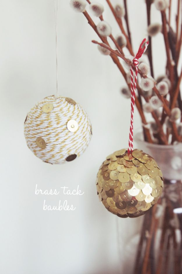 New Years Eve Decor Ideas - DIY Brass Tack Baubles - DIY New Year's Eve Decorations - Cheap Ideas for Banners, Balloons, Party Tables, Centerpieces and Festive Streamers and Lights - Cool Placecards, Photo Backdrops, Party Hats, Party Horns and Champagne Glasses - Cute Invitations, Games and Free Printables http://diyjoy.com/new-years-eve-decor-ideas