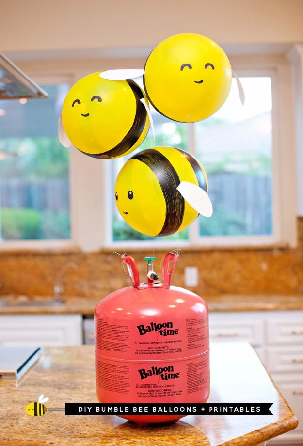 Balloon Crafts - DIY Bumble Bee Balloons - Fun Balloon Craft Ideas, Wall Art Projects and Cute Ballon Decor - DIY Balloon Ideas for Toddlers, Preschool Kids, Teens and Adults - Cheap Crafts Made With Balloons - Pumpkins, Bowls, Marshmallow Shooters, Balls, Glow Stick, Hot Air, Stress Ball http://diyjoy.com/balloon-crafts