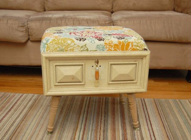 Best Furniture Hacks - DIY Drawer Ottoman - Easy DIY Furniture Makeover Ideas for Cheap Home Decor - IKEA Hack Tutorials, Dressers, Cribs, Storage, For Kids, Bedroom and Good Ideas for Bath - Anthropologie, Walmart, Kmart, Target http://diyjoy.com/best-furniture-hacks