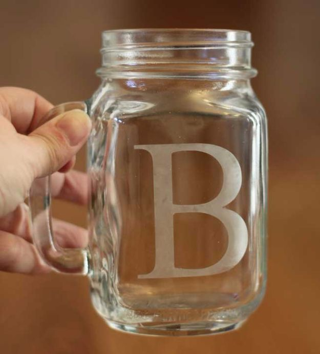 DIY Valentines Day Gifts for Him - DIY Etched Mason Jar Glasses - Cool and Easy Things To Make for Your Husband, Boyfriend, Fiance - Creative and Cheap Do It Yourself Projects to Give Your Man - Ideas Guys Love These Ideas for Car, Yard, Home and Garage - Make, Don't Buy Your Valentine