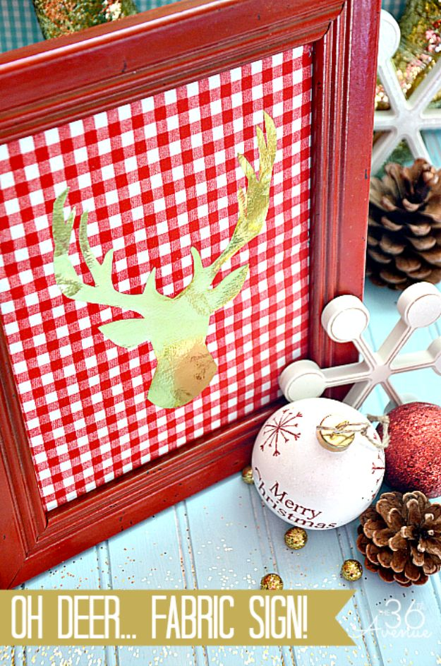 Cheap DIY Christmas Decor Ideas and Holiday Decorating On A Budget - DIY Fabric Christmas Sign - Easy and Quick Decorating Ideas for The Holidays - Cool Dollar Store Crafts for Xmas Decorating On A Budget - wreaths, ornaments, bows, mantel decor, front door, tree and table centerpieces - best ideas for beautiful home decor during the holidays http://diyjoy.com/cheap-diy-christmas-decor