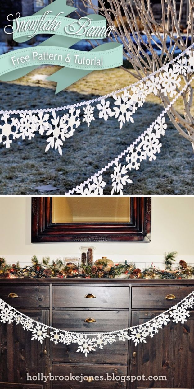 Cheap DIY Christmas Decor Ideas and Holiday Decorating On A Budget - DIY Felt Snowflake Banner - Easy and Quick Decorating Ideas for The Holidays - Cool Dollar Store Crafts for Xmas Decorating On A Budget - wreaths, ornaments, bows, mantel decor, front door, tree and table centerpieces - best ideas for beautiful home decor during the holidays http://diyjoy.com/cheap-diy-christmas-decor