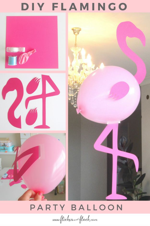 Balloon Crafts - DIY Flamingo Party Balloon - Fun Balloon Craft Ideas, Wall Art Projects and Cute Ballon Decor - DIY Balloon Ideas for Toddlers, Preschool Kids, Teens and Adults - Cheap Crafts Made With Balloons - Pumpkins, Bowls, Marshmallow Shooters, Balls, Glow Stick, Hot Air, Stress Ball http://diyjoy.com/balloon-crafts