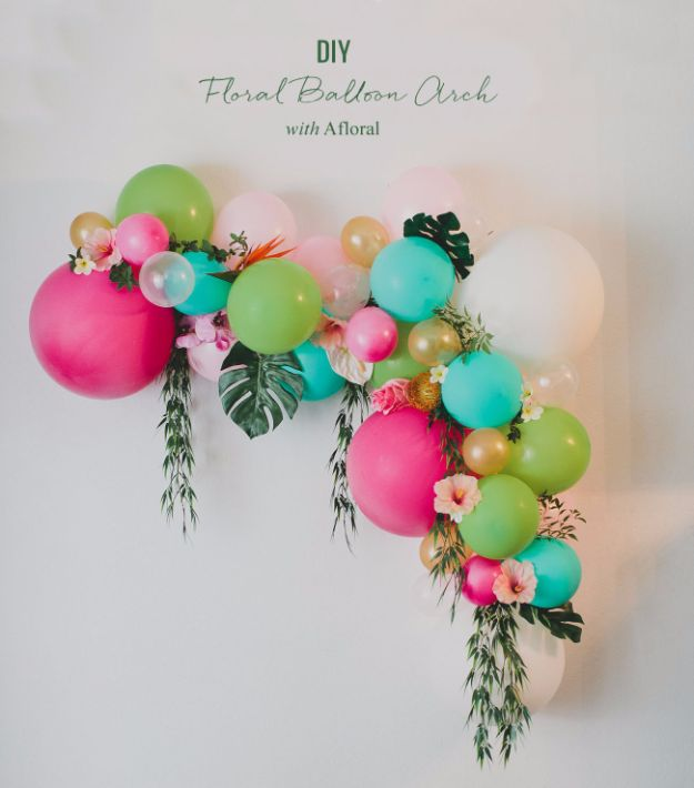Balloon Crafts - DIY Floral Balloon Arch - Fun Balloon Craft Ideas, Wall Art Projects and Cute Ballon Decor - DIY Balloon Ideas for Toddlers, Preschool Kids, Teens and Adults - Cheap Crafts Made With Balloons - Pumpkins, Bowls, Marshmallow Shooters, Balls, Glow Stick, Hot Air, Stress Ball http://diyjoy.com/balloon-crafts