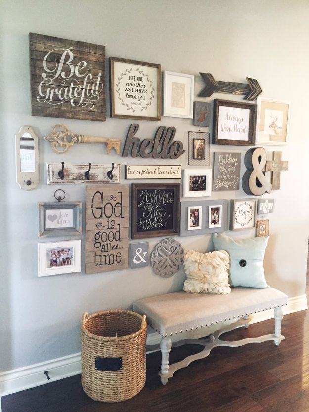 Best DIY Home Decor Crafts - DIY Gallery Wall - Easy Craft Ideas To Make From Dollar Store Items - Cheap Wall Art, Easy Do It Yourself Gifts, Modern Wall Art On A Budget, Tabletop and Centerpiece Tutorials - Cool But Affordable Room and Home Decor With Step by Step Tutorials #diyhomedecor