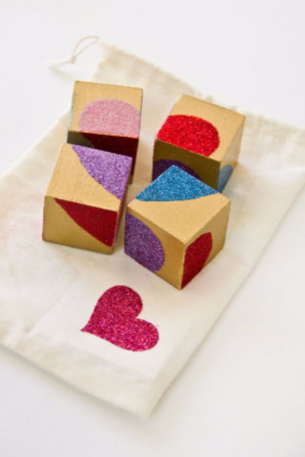DIY Valentines Day Gifts for Her - DIY Glittery Block Puzzle - Cool and Easy Things To Make for Your Wife, Girlfriend, Fiance - Creative and Cheap Do It Yourself Projects to Give Your Girl - Ladies Love These Ideas for Bath, Yard, Home and Kitchen, Outdoors - Make, Don't Buy Your Valentine http://diyjoy.com/diy-valentines-gifts-her