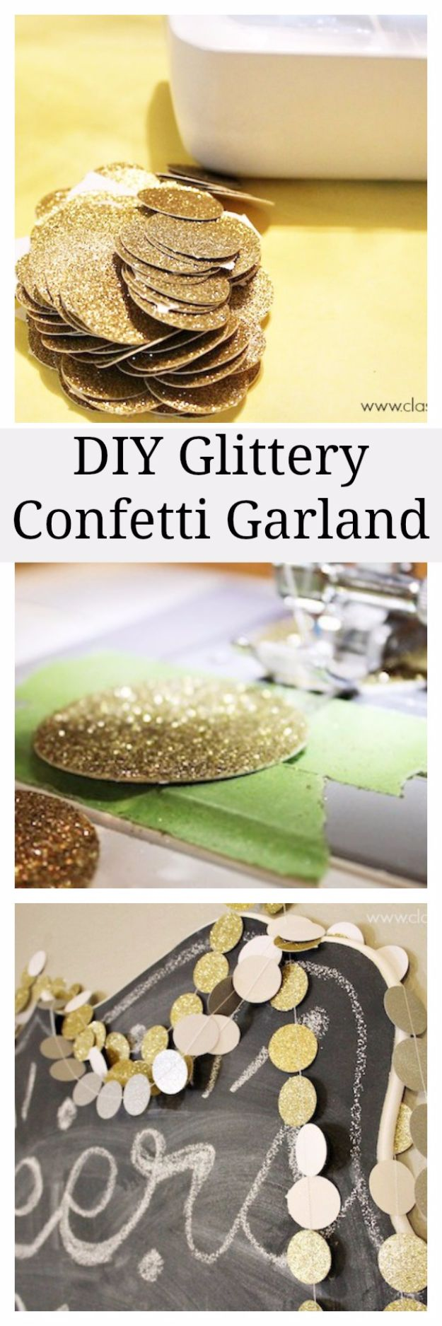 New Years Eve Decor Ideas - DIY Glittery Confetti Garland - DIY New Year's Eve Decorations - Cheap Ideas for Banners, Balloons, Party Tables, Centerpieces and Festive Streamers and Lights - Cool Placecards, Photo Backdrops, Party Hats, Party Horns and Champagne Glasses - Cute Invitations, Games and Free Printables #diy #newyearseve #parties