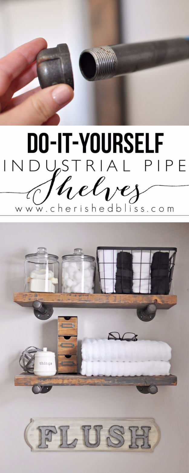 DIY Bathroom Storage Ideas - DIY Industrial Pipe Shelves - Best Solutions for Under Sink Organization, Countertop Jars and Boxes, Counter Caddy With Mason Jars, Over Toilet Ideas and Shelves, Easy Tips and Tricks for Small Spaces To Organize Bath Products http://diyjoy.com/diy-bathroom-storage-ideas
