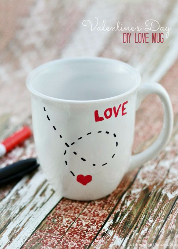 DIY Valentines Day Gifts for Him - DIY Love Mug - Cool and Easy Things To Make for Your Husband, Boyfriend, Fiance - Creative and Cheap Do It Yourself Projects to Give Your Man - Ideas Guys Love These Ideas for Car, Yard, Home and Garage - Make, Don't Buy Your Valentine