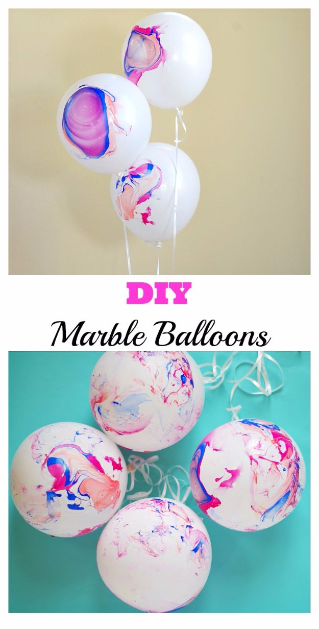 Balloon Crafts - DIY Marble Balloons - Fun Balloon Craft Ideas, Wall Art Projects and Cute Ballon Decor - DIY Balloon Ideas for Toddlers, Preschool Kids, Teens and Adults - Cheap Crafts Made With Balloons - Pumpkins, Bowls, Marshmallow Shooters, Balls, Glow Stick, Hot Air, Stress Ball http://diyjoy.com/balloon-crafts