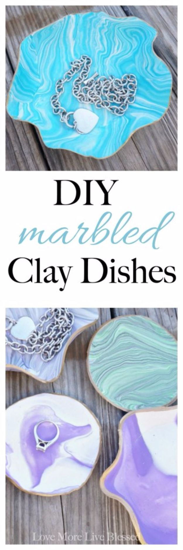 DIY Valentines Day Gifts for Her - DIY Marbled Clay Dishes - Cool and Easy Things To Make for Your Wife, Girlfriend, Fiance - Creative and Cheap Do It Yourself Projects to Give Your Girl - Ladies Love These Ideas for Bath, Yard, Home and Kitchen, Outdoors - Make, Don't Buy Your Valentine