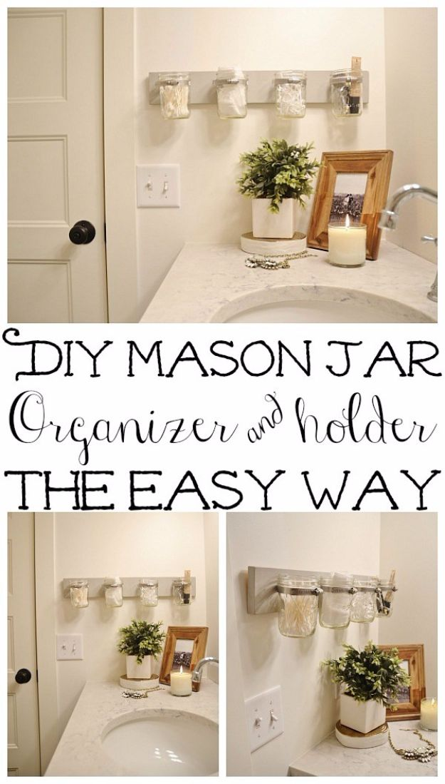 DIY Bathroom Storage Ideas - DIY Mason Jar Holder - Best Solutions for Under Sink Organization, Countertop Jars and Boxes, Counter Caddy With Mason Jars, Over Toilet Ideas and Shelves, Easy Tips and Tricks for Small Spaces To Organize Bath Products http://diyjoy.com/diy-bathroom-storage-ideas