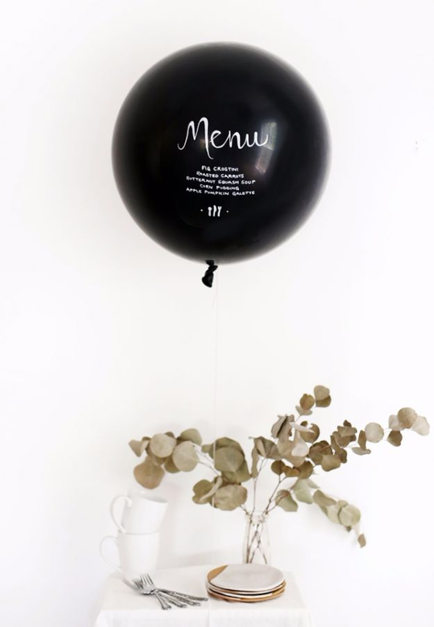 Balloon Crafts - DIY Menu Balloon - Fun Balloon Craft Ideas, Wall Art Projects and Cute Ballon Decor - DIY Balloon Ideas for Toddlers, Preschool Kids, Teens and Adults - Cheap Crafts Made With Balloons - Pumpkins, Bowls, Marshmallow Shooters, Balls, Glow Stick, Hot Air, Stress Ball http://diyjoy.com/balloon-crafts
