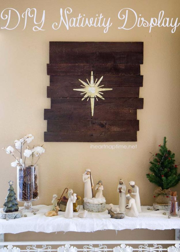Cheap DIY Christmas Decor Ideas and Holiday Decorating On A Budget - DIY Nativity Display - Easy and Quick Decorating Ideas for The Holidays - Cool Dollar Store Crafts for Xmas Decorating On A Budget - wreaths, ornaments, bows, mantel decor, front door, tree and table centerpieces #christmas #diy #crafts