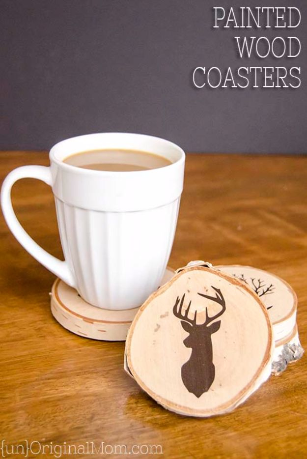 DIY Valentines Day Gifts for Him - DIY Painted Wood Slice Coasters - Cool and Easy Things To Make for Your Husband, Boyfriend, Fiance - Creative and Cheap Do It Yourself Projects to Give Your Man - Ideas Guys Love These Ideas for Car, Yard, Home and Garage - Make, Don't Buy Your Valentine