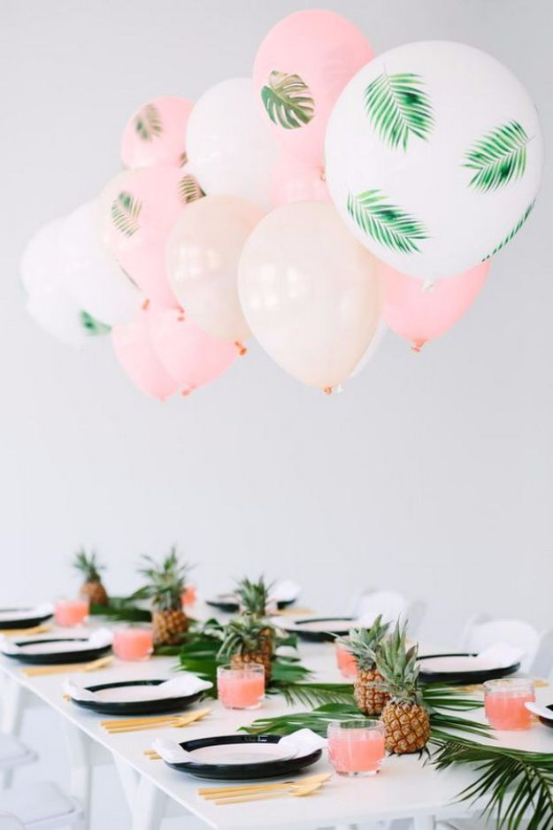 Balloon Crafts - DIY Palm Leaf Balloons - Fun Balloon Craft Ideas, Wall Art Projects and Cute Ballon Decor - DIY Balloon Ideas for Toddlers, Preschool Kids, Teens and Adults - Cheap Crafts Made With Balloons - Pumpkins, Bowls, Marshmallow Shooters, Balls, Glow Stick, Hot Air, Stress Ball