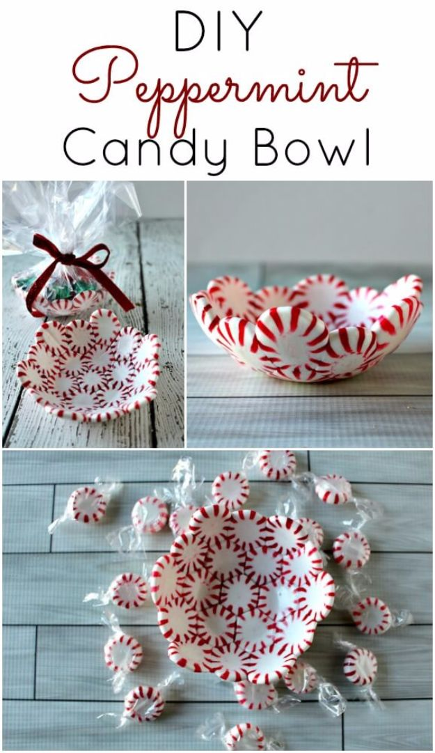 Cheap DIY Christmas Decor Ideas and Holiday Decorating On A Budget - DIY Peppermint Candy Bowls - Easy and Quick Decorating Ideas for The Holidays - Cool Dollar Store Crafts for Xmas Decorating On A Budget - wreaths, ornaments, bows, mantel decor, front door, tree and table centerpieces #christmas #diy #crafts