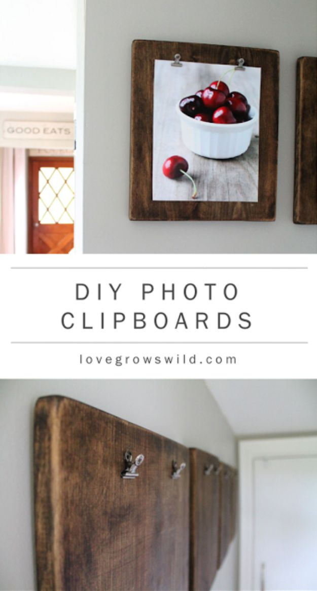 Best DIY Home Decor Crafts - DIY Photo Clipboards - Easy Craft Ideas To Make From Dollar Store Items - Cheap Wall Art, Easy Do It Yourself Gifts, Modern Wall Art On A Budget, Tabletop and Centerpiece Tutorials - Cool But Affordable Room and Home Decor With Step by Step Tutorials #diyhomedecor