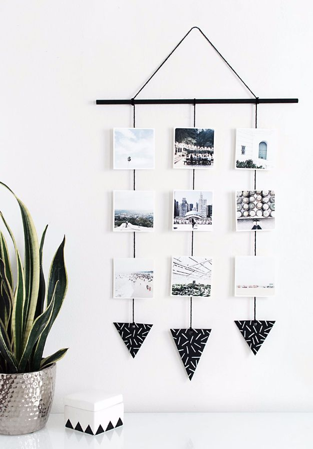 Best DIY Home Decor Crafts - DIY Photo Wall Hanging - Easy Craft Ideas To Make From Dollar Store Items - Cheap Wall Art, Easy Do It Yourself Gifts, Modern Wall Art On A Budget, Tabletop and Centerpiece Tutorials - Cool But Affordable Room and Home Decor With Step by Step Tutorials #diyhomedecor