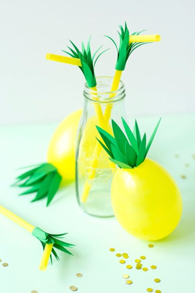 Balloon Crafts - DIY Pineapple Balloons - Fun Balloon Craft Ideas, Wall Art Projects and Cute Ballon Decor - DIY Balloon Ideas for Toddlers, Preschool Kids, Teens and Adults - Cheap Crafts Made With Balloons - Pumpkins, Bowls, Marshmallow Shooters, Balls, Glow Stick, Hot Air, Stress Ball http://diyjoy.com/balloon-crafts