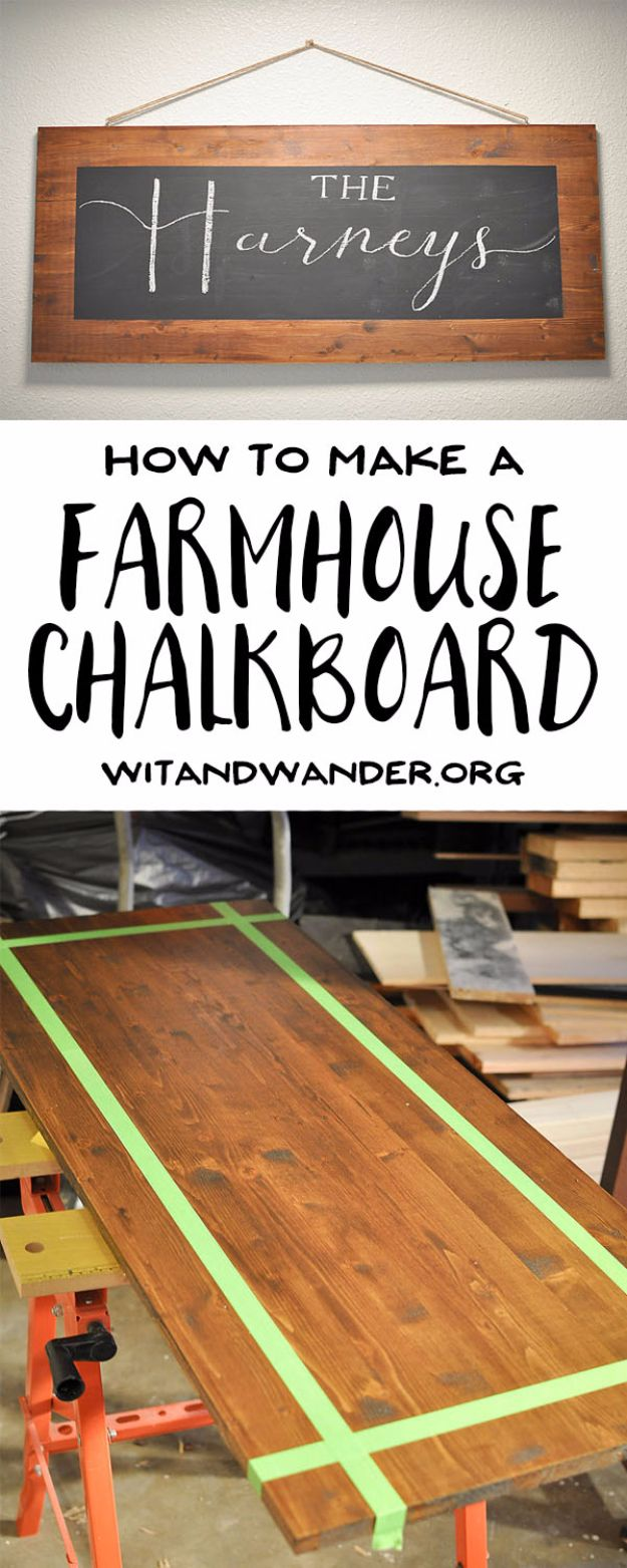 Best DIY Home Decor Crafts - DIY Rustic Farmhouse Chalkboard - Easy Craft Ideas To Make From Dollar Store Items - Cheap Wall Art, Easy Do It Yourself Gifts, Modern Wall Art On A Budget, Tabletop and Centerpiece Tutorials - Cool But Affordable Room and Home Decor With Step by Step Tutorials #diyhomedecor