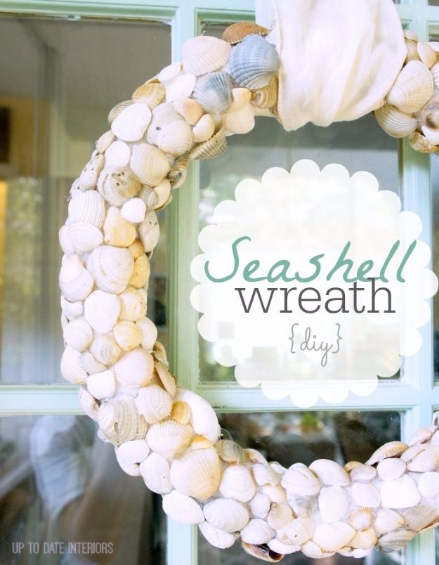 DIY Ideas With Sea Shells - DIY Seashell Wreath - Best Cute Sea Shell Crafts for Adults and Kids - Easy Beach House Decor Ideas With Sand and Large Shell Art - Wall Decor and Home, Bedroom and Bath - Cheap DIY Projects Make Awesome Homemade Gifts http://diyjoy.com/diy-ideas-sea-shells