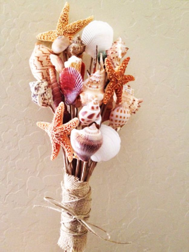 DIY Ideas With Sea Shells - DIY Shell Bouquet - Best Cute Sea Shell Crafts for Adults and Kids - Easy Beach House Decor Ideas With Sand and Large Shell Art - Wall Decor and Home, Bedroom and Bath - Cheap DIY Projects Make Awesome Homemade Gifts http://diyjoy.com/diy-ideas-sea-shells