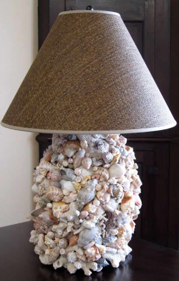 DIY Ideas With Sea Shells - DIY Shell Lamp - Best Cute Sea Shell Crafts for Adults and Kids - Easy Beach House Decor Ideas With Sand and Large Shell Art - Wall Decor and Home, Bedroom and Bath - Cheap DIY Projects Make Awesome Homemade Gifts http://diyjoy.com/diy-ideas-sea-shells