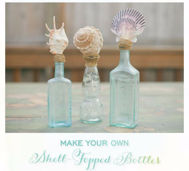 DIY Ideas With Sea Shells - DIY Shell Topped Bottles - Best Cute Sea Shell Crafts for Adults and Kids - Easy Beach House Decor Ideas With Sand and Large Shell Art - Wall Decor and Home, Bedroom and Bath - Cheap DIY Projects Make Awesome Homemade Gifts http://diyjoy.com/diy-ideas-sea-shells