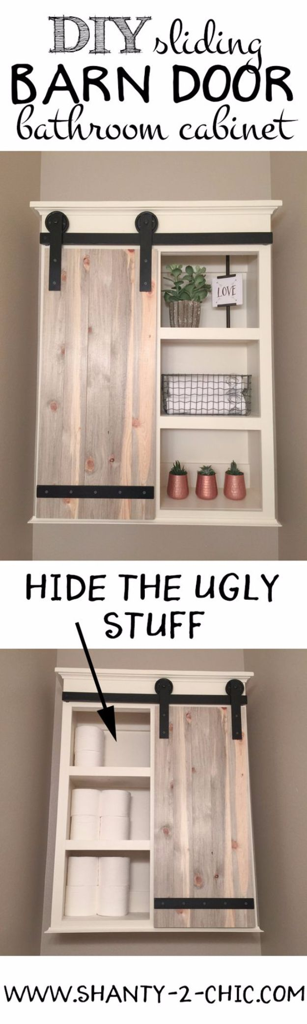 DIY Bathroom Storage Ideas - DIY Sliding Barn Door Bathroom Cabinet - Best Solutions for Under Sink Organization, Countertop Jars and Boxes, Counter Caddy With Mason Jars, Over Toilet Ideas and Shelves, Easy Tips and Tricks for Small Spaces To Organize Bath Products http://diyjoy.com/diy-bathroom-storage-ideas