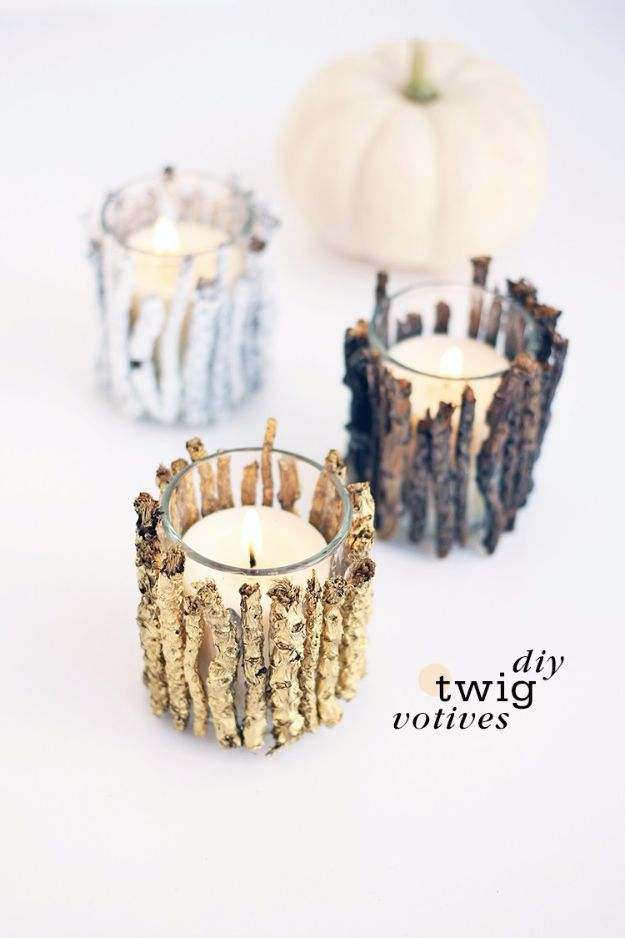 Best DIY Home Decor Crafts - DIY Twig Votive Candle Holders - Easy Craft Ideas To Make From Dollar Store Items - Cheap Wall Art, Easy Do It Yourself Gifts, Modern Wall Art On A Budget, Tabletop and Centerpiece Tutorials - Cool But Affordable Room and Home Decor With Step by Step Tutorials #diyhomedecor