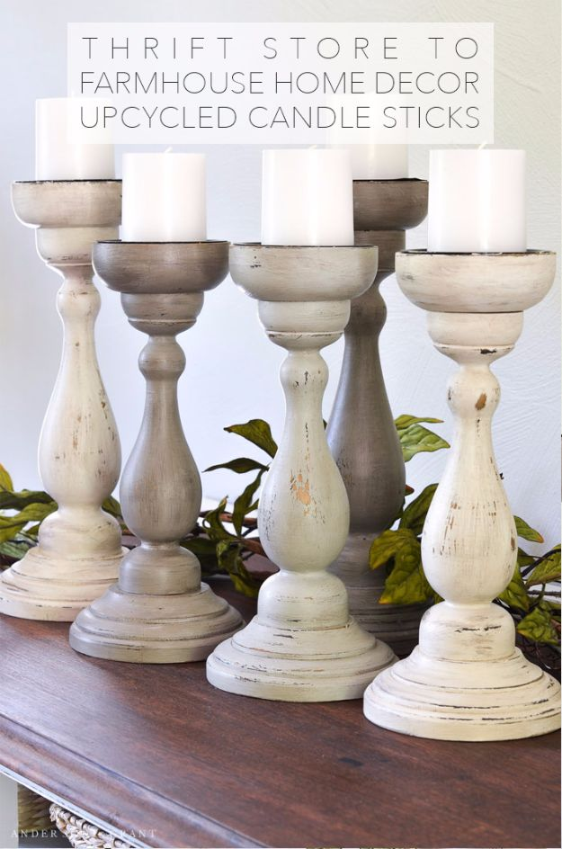 Best DIY Home Decor Crafts - DIY Upcycled Candle Sticks - Easy Craft Ideas To Make From Dollar Store Items - Cheap Wall Art, Easy Do It Yourself Gifts, Modern Wall Art On A Budget, Tabletop and Centerpiece Tutorials - Cool But Affordable Room and Home Decor With Step by Step Tutorials http://diyjoy.com/diy-home-decor-crafts