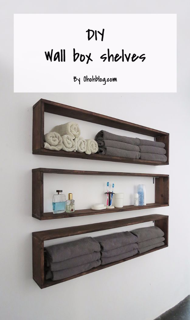 DIY Bathroom Storage Ideas - DIY Wall Box Shelves - Best Solutions for Under Sink Organization, Countertop Jars and Boxes, Counter Caddy With Mason Jars, Over Toilet Ideas and Shelves, Easy Tips and Tricks for Small Spaces To Organize Bath Products http://diyjoy.com/diy-bathroom-storage-ideas