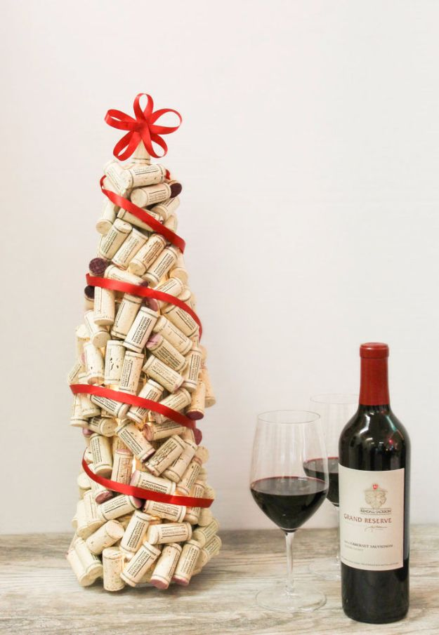 Cheap DIY Christmas Decor Ideas and Holiday Decorating On A Budget - DIY Wine Cork Christmas Tree - Easy and Quick Decorating Ideas for The Holidays - Cool Dollar Store Crafts for Xmas Decorating On A Budget - wreaths, ornaments, bows, mantel decor, front door, tree and table centerpieces #christmas #diy #crafts
