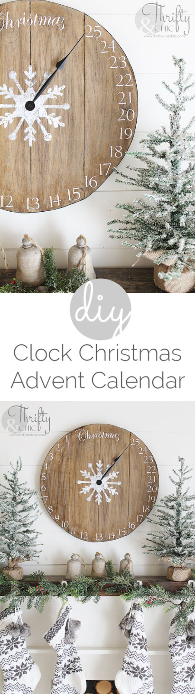 Cheap DIY Christmas Decor Ideas and Holiday Decorating On A Budget - DIY Wood Clock Christmas Advent Calendar - Easy and Quick Decorating Ideas for The Holidays - Cool Dollar Store Crafts for Xmas Decorating On A Budget - wreaths, ornaments, bows, mantel decor, front door, tree and table centerpieces #christmas #diy #crafts