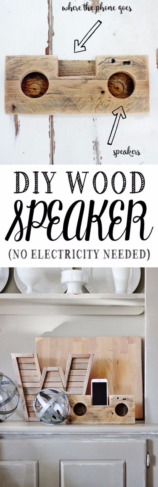 DIY Gadgets - DIY Wood Speaker - Homemade Gadget Ideas and Projects for Men, Women, Teens and Kids - Steampunk Inventions, How To Build Easy Electronics, Cool Spy Gear and Do It Yourself Tech Toys #gadgets #diy #stem #diytoys