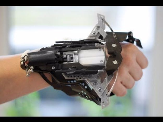 DIY Gadgets - DIY Wrist Mounted Crossbow - Homemade Gadget Ideas and Projects for Men, Women, Teens and Kids - Steampunk Inventions, How To Build Easy Electronics, Cool Spy Gear and Do It Yourself Tech Toys http://diyjoy.com/diy-gadgets
