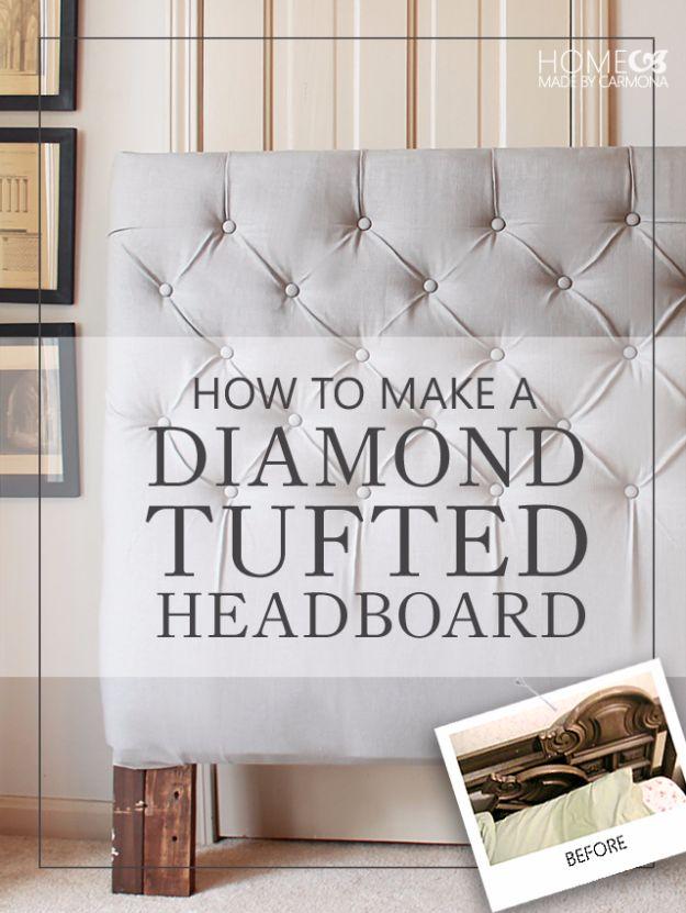 Best Furniture Hacks - Diamond Tufted Headboard - Easy DIY Furniture Makeover Ideas for Cheap Home Decor - IKEA Hack Tutorials, Dressers, Cribs, Storage, For Kids, Bedroom and Good Ideas for Bath - Anthropologie, Walmart, Kmart, Target http://diyjoy.com/best-furniture-hacks