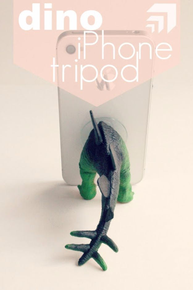 DIY Valentines Day Gifts for Him - Dino iPhone Tripod - Cool and Easy Things To Make for Your Husband, Boyfriend, Fiance - Creative and Cheap Do It Yourself Projects to Give Your Man - Ideas Guys Love These Ideas for Car, Yard, Home and Garage - Make, Don't Buy Your Valentine http://diyjoy.com/diy-valentines-gifts-him