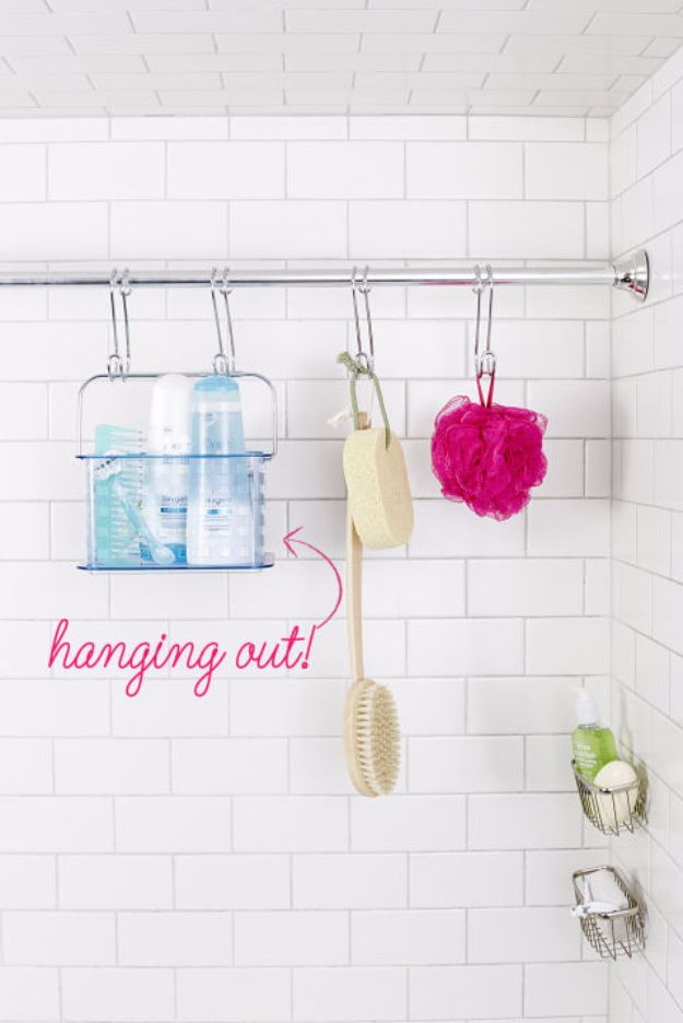 DIY Bathroom Storage Ideas - Double Up on Rods - Best Solutions for Under Sink Organization, Countertop Jars and Boxes, Counter Caddy With Mason Jars, Over Toilet Ideas and Shelves, Easy Tips and Tricks for Small Spaces To Organize Bath Products http://diyjoy.com/diy-bathroom-storage-ideas