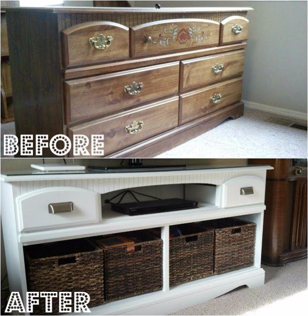 Best Furniture Hacks - Dresser Turned TV Stand - Easy DIY Furniture Makeover Ideas for Cheap Home Decor - IKEA Hack Tutorials, Dressers, Cribs, Storage, For Kids, Bedroom and Good Ideas for Bath - Anthropologie, Walmart, Kmart, Target http://diyjoy.com/best-furniture-hacks
