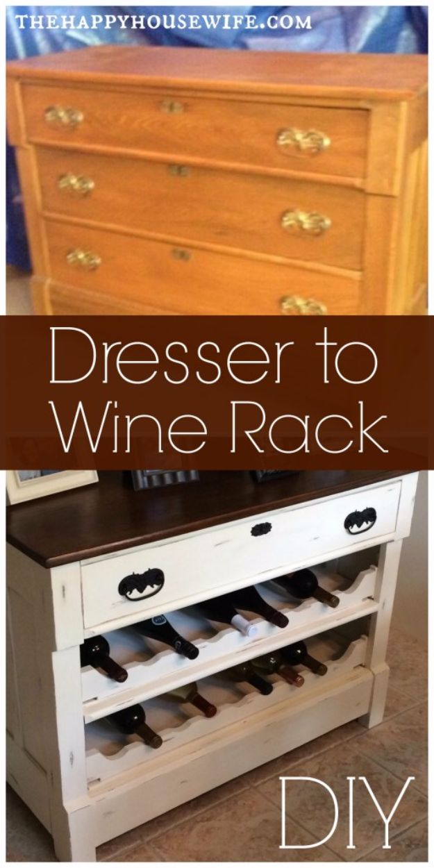 Best Furniture Hacks - Dresser to Wine Rack DIY - Easy DIY Furniture Makeover Ideas for Cheap Home Decor - IKEA Hack Tutorials, Dressers, Cribs, Storage, For Kids, Bedroom and Good Ideas for Bath - Anthropologie, Walmart, Kmart, Target http://diyjoy.com/best-furniture-hacks