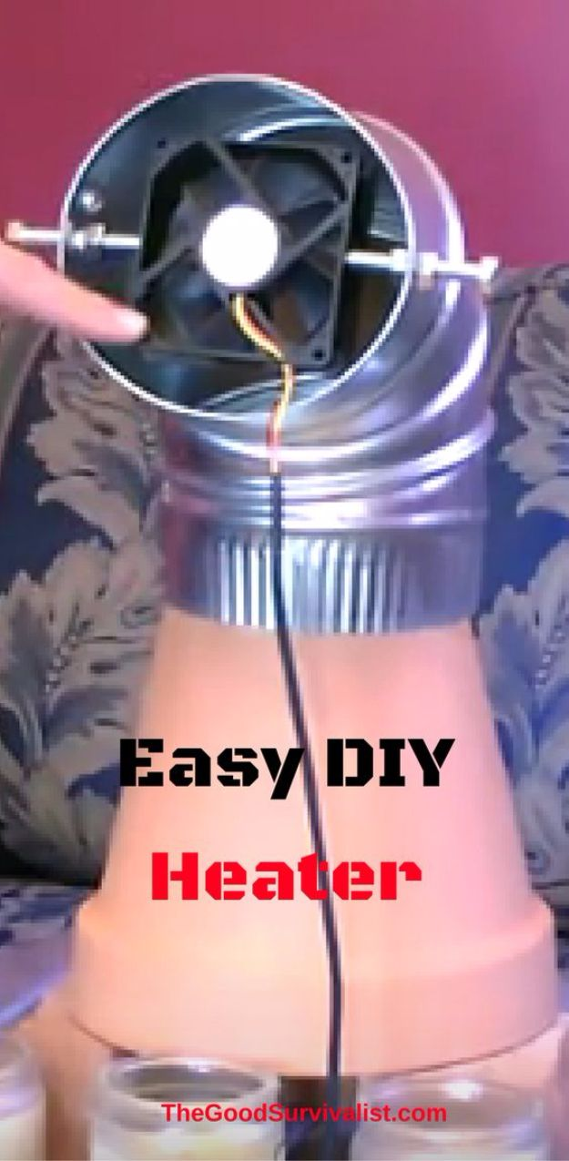 DIY Gadgets - Easy DIY Heater - Homemade Gadget Ideas and Projects for Men, Women, Teens and Kids - Steampunk Inventions, How To Build Easy Electronics, Cool Spy Gear and Do It Yourself Tech Toys http://diyjoy.com/diy-gadgets