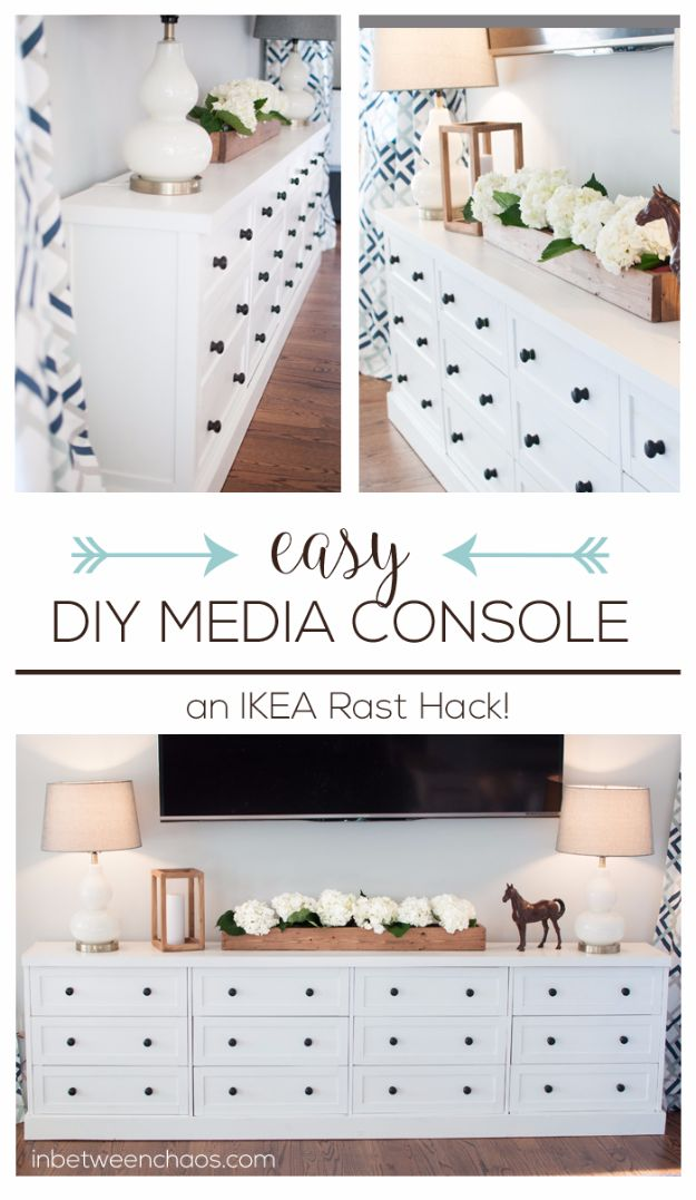 IKEA Hacks For The Bedroom - Easy DIY Media Console - Best IKEA Furniture Hack Ideas for Bed, Storage, Nightstand, Closet System and Storage, Dresser, Vanity, Wall Art and Kids Rooms - Easy and Cheap DIY Projects for Affordable Room and Home Decor #ikeahacks #diydecor #bedroomdecor