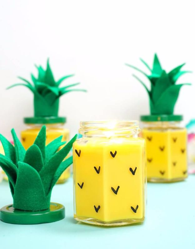 DIY Valentines Day Gifts for Her - Easy DIY Pineapple Candles - Cool and Easy Things To Make for Your Wife, Girlfriend, Fiance - Creative and Cheap Do It Yourself Projects to Give Your Girl - Ladies Love These Ideas for Bath, Yard, Home and Kitchen, Outdoors - Make, Don't Buy Your Valentine