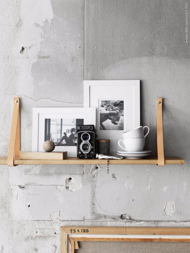 IKEA Hacks For The Bedroom - Ekby Shelf With Leather Strap - Best IKEA Furniture Hack Ideas for Bed, Storage, Nightstand, Closet System and Storage, Dresser, Vanity, Wall Art and Kids Rooms - Easy and Cheap DIY Projects for Affordable Room and Home Decor #ikeahacks #diydecor #bedroomdecor