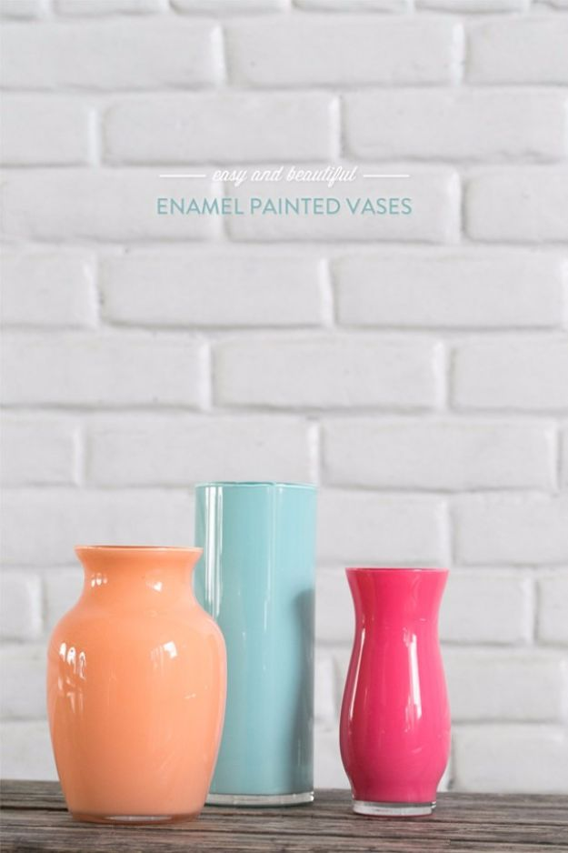 Best DIY Home Decor Crafts - Enamel Painted Vases - Easy Craft Ideas To Make From Dollar Store Items - Cheap Wall Art, Easy Do It Yourself Gifts, Modern Wall Art On A Budget, Tabletop and Centerpiece Tutorials - Cool But Affordable Room and Home Decor With Step by Step Tutorials #diyhomedecor