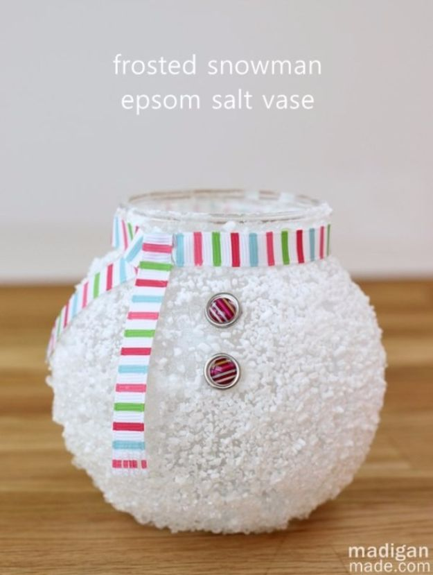 Cheap DIY Christmas Decor Ideas and Holiday Decorating On A Budget - Epsom Salt Snowman Vase - Easy and Quick Decorating Ideas for The Holidays - Cool Dollar Store Crafts for Xmas Decorating On A Budget - wreaths, ornaments, bows, mantel decor, front door, tree and table centerpieces - best ideas for beautiful home decor during the holidays http://diyjoy.com/cheap-diy-christmas-decor